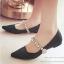 รองเท้าคัทชู ส้นเตี้ย หัวแหลม สายคาดเพชร (สีดำ )