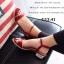 รองเท้าส้นเตี้ย รัดข้อเท้า ผ้าซาติน ส้นตันฝังเพชร สวยหรู (สีแดง ) thumbnail 2