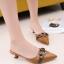 รองเท้าส้นเตี้ยเปิดส้นสีน้ำตาล หัวแหลม ดูไฮโซ (สีน้ำตาล )