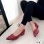 รองเท้าคัทชู ส้นสูง หัวแหลม หน้าวี หนังซ้อน (สีแดง ) thumbnail 3