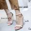 รองเท้าส้นสูงรัดส้นสีครีม ส้นแก้ว สไตล์เกาหลี (สีครีม ) thumbnail 1