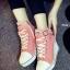 รองเท้าผ้าใบส้นเตารีด สายรัดเมจิกเทป (ชมพู )