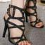 รองเท้าส้นสูงสีดำ ส้นสูง4 นิ้ว มีกริตเตอร์ สวยเปรี้ยวมาก สายคล้องข้อเท้า สองสายเพิ่มความกระชับเวลาใส่ ใส่แล้วขายาว สูงเพรียว ออกงาน ปาร์ตี้ คู่นี้เลยคร่า thumbnail 1