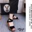 รองเท้าส้นเตี้ยรัดข้อสีดำ สายไขว้ยางยืด ซิปหลัง (สีดำ ) thumbnail 2