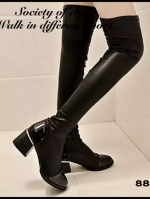 รองเท้าบูทยาว ส้นสูง ใส่เที่ยวหน้าหนาว (สีดำ )